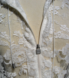 zipper closure on the Chanel 06a ivory blouson