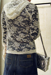 Chanel's white lace hoody 06a back