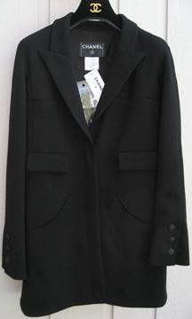 Chanel 07a black jersey long jacket