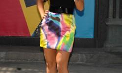 Christina Aguilera promoting the VMAs in a Dolce & Gabbana skirt