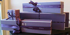 purple Asprey boxes ready for Christmas