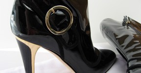 Jimmy Choo black patent boots - gold heel detail