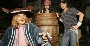 Johnny Depp with Pirates of the Caribbean tableau