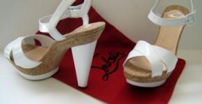 La Falaise white patent sandal by Louboutin