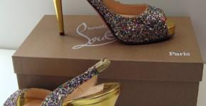 Louboutin glitter peep toe slingbacks, gold heel