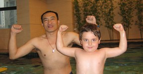 Lu and Liu Wei in the pool