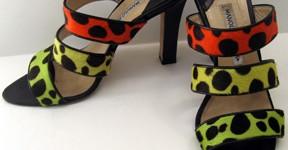 Manolo Blahnik fluoresent pony sandals