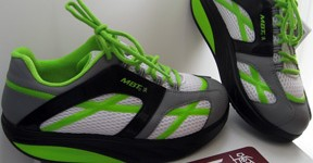 MBT sneaker with fluorescent green accents