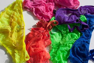 Assortment of Deborah Marquit lingerie in neon colors
