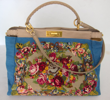 blue Fendi needlepoint Peekaboo