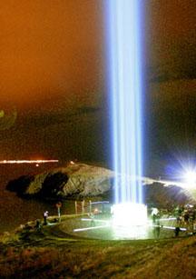The Imagine Peace Tower in Reykjavik dedicated to John Lennon
