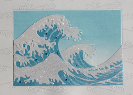 Papyrus notecard Japanese ocean wave