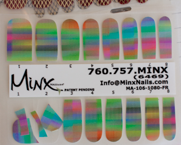 Minx nail coverings rainbow pattern selection