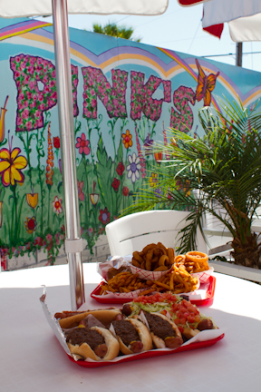 Pinks LA chili dogs and onion rings