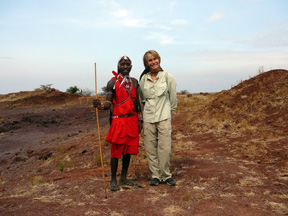 On a hike in Kenya with Rakita at Lewa Downs