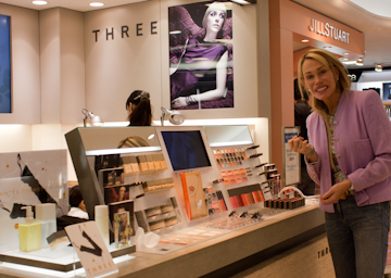 Three Cosmetics makeup counter