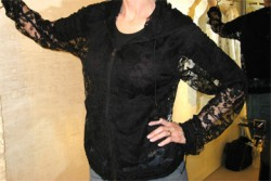 06a Chanel black lace zip blouson