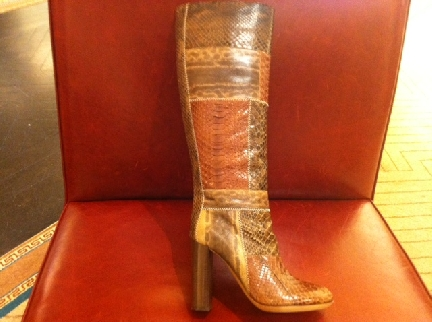Chloe patchwork reptile boots from Bergdorfs