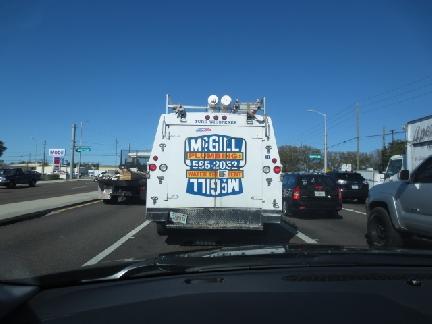plumbing truck in traffic