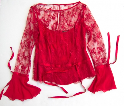 red Escada lace blouse