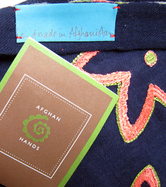 Closeup of the lovely scarf sponsored by Afghan Hands