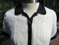 Behnaz Sarafpour ivory silk shirt with black trim for Target