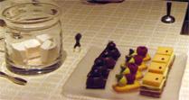Rose flavored marshmallows (left) offered for dessert at Beige
