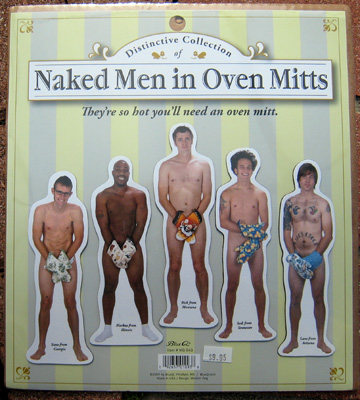 Blue Q Naked Men in Oven Mitts magnets