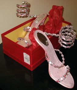 Rene Caovilla pink silk chain wrap slippers