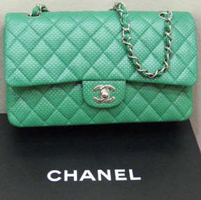 Chanel 07P green perforated leather handbag