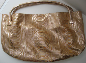 Devi Kroell large size Roman tote in coppery gold metallic python