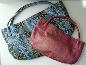 Devi Kroell Roman totes in blue python and pink lizard metallic
