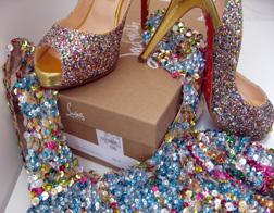 Louboutin glitter peep toe pumps and Dries Van Noten sequin top