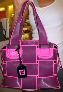 Fendi Crossword Tote in purple and pink