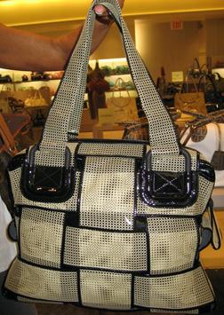 Fendi Crossword net bag in beige with black patent trim