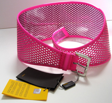Another view of the hot pink Fendi perforated belt