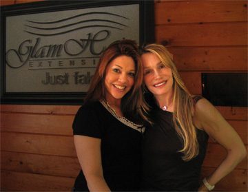 yumyum and Gina Diaz at her Salon Glam Hair