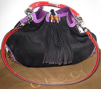 Gucci black suede Indy bag