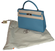 starting with the I's...the new Hermes dust bag here with a blue jean Kelly