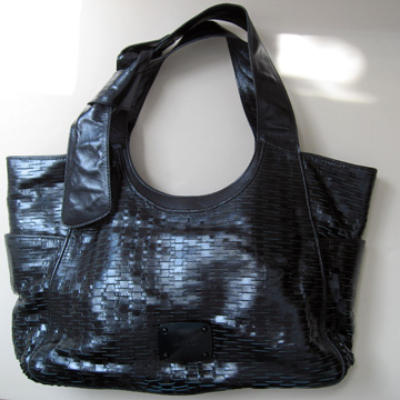 Heavy metal: Jimmy Choo metallic blue tote