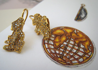 Custom earrings by Sharon Khazzam to wear with her World Pendant