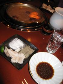 Shabu Shabu at Kurasawa -- salt, pepper, and a lime wedge