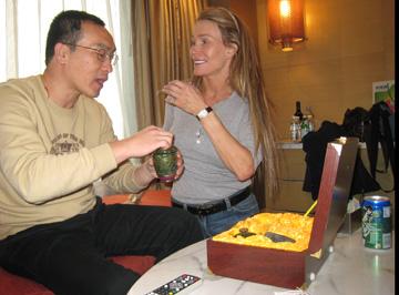Liu Wei with special tea set