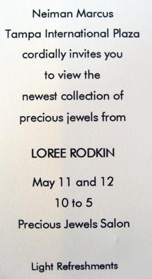 Loree Rodkin's trunk show invitation