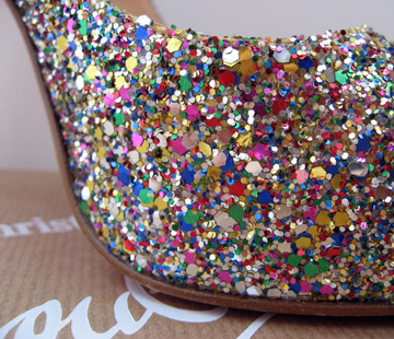 closeup of the Louboutin glitter platform slingbacks