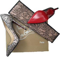 Louboutin's matching lace overlay clutch and stilletos