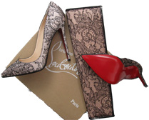 Louboutin's lace pumps and clutch