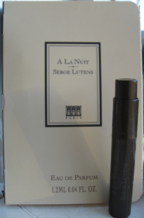 I was given this sample of A La Nuit for looking at Lutens makeup line at Harrods
