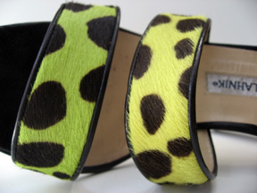 Cheetah print fluorescent Manolo Blahnik pony sandals - closeup