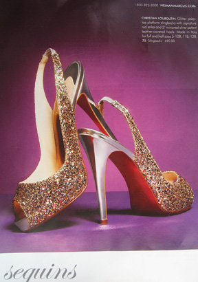 The Louboutin glitter slingbacks feature in a Nieman Marcus ad